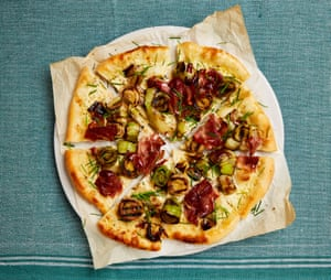 Yotam Ottolenghi's flammkuchen with speck and grilled leeks.