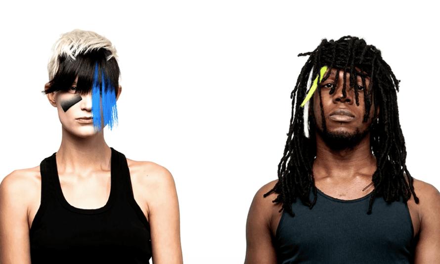 Two models wearing CV Dazzle styling.