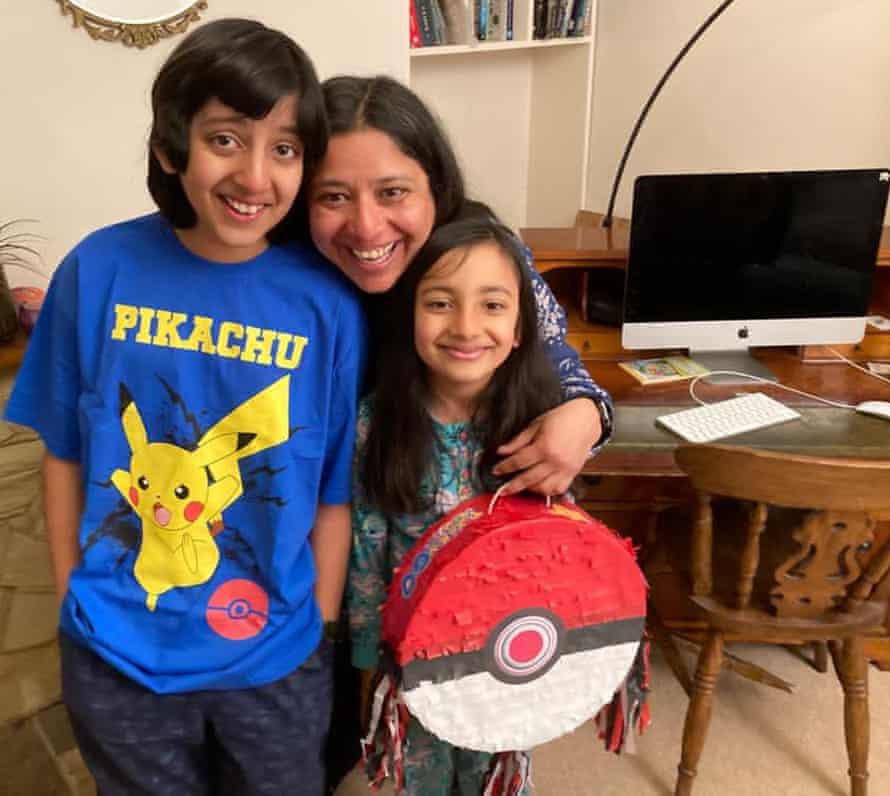 Kaveri Rajan with her son Nachiketa Srinivasan and daughter Katyayani Devidhar.