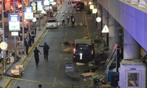 The scene left by two explosions and gunfire at Turkey's biggest airport.