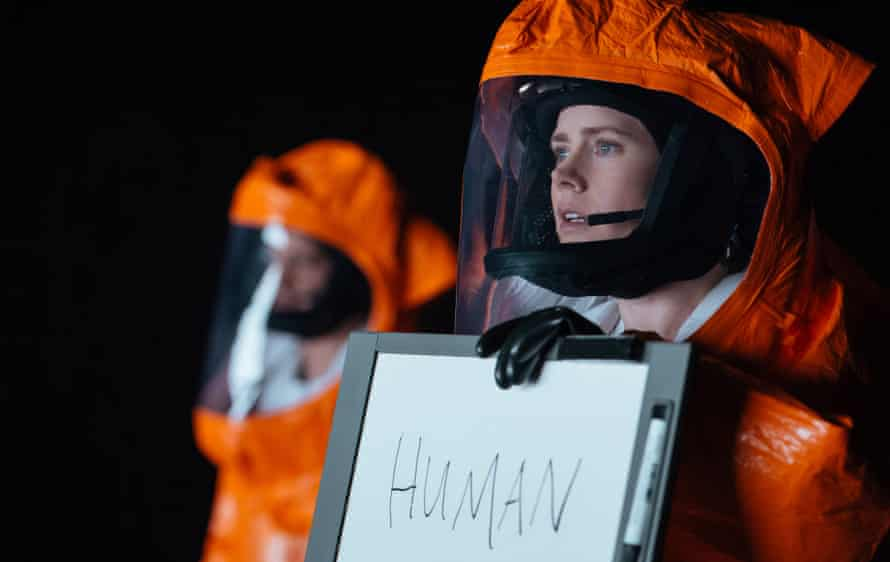 Amy Adams prepares for first contact in Arrival, 'her talent for telegraphing emotions via tiny facial gestures shining through'.