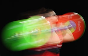 Fiorella Francesca Cueva Uribe of Peru competes during the Women's 53kg Group B weightlifting contest.