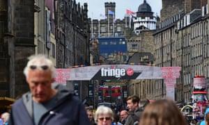 A crowded Royal Mile during the Edinburgh festival fringe.
