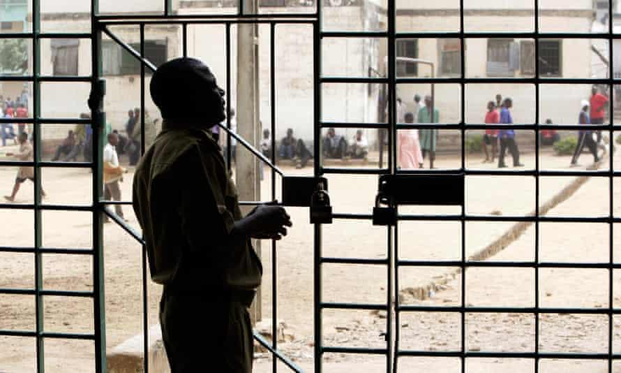 Prisoners behind bars in the prison of Jos, Nigeria