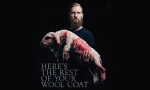 California-based musician Jona Weinhofen poses as part of the People for the Ethical Treatment of Animals' anti-shearing campaign. Australian farmers say the photo, which has been circulating on social media, is a fake.