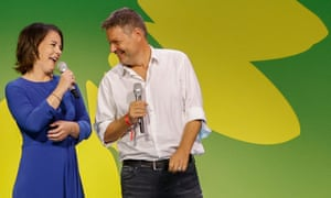 The co-leader of Germany's Green party (Die Gruenen) and the party's candidate for chancellor Annalena Baerbock and co-leader Robert Habeck speak at their electoral party