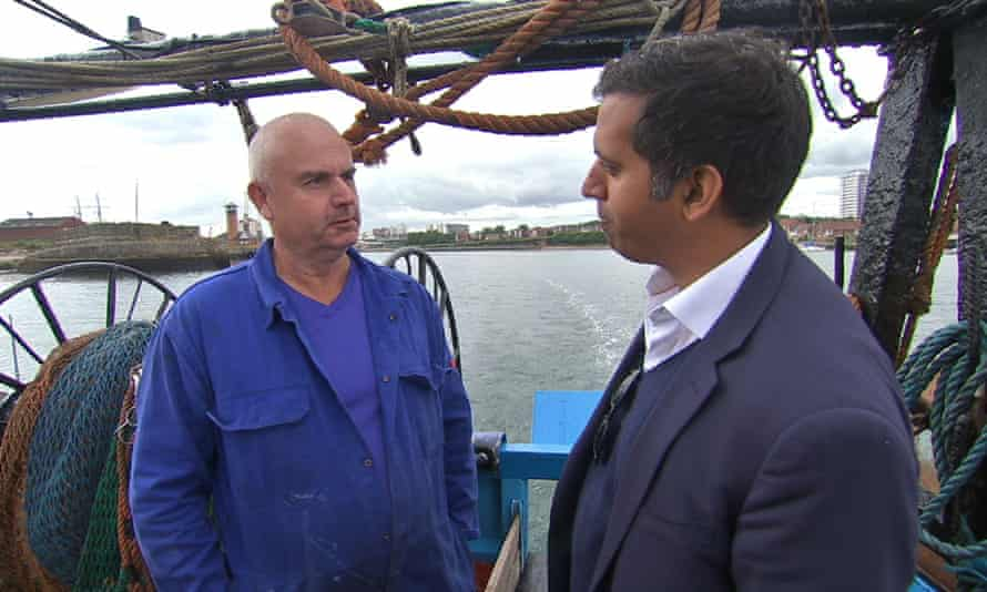 Sunderland fisherman Arthur Mole with Faisal Islam.