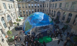 A view of a dome representing the Earth during the inauguration ceremony of an exhibition promoting the World Climate Summit 2015 in Paris.