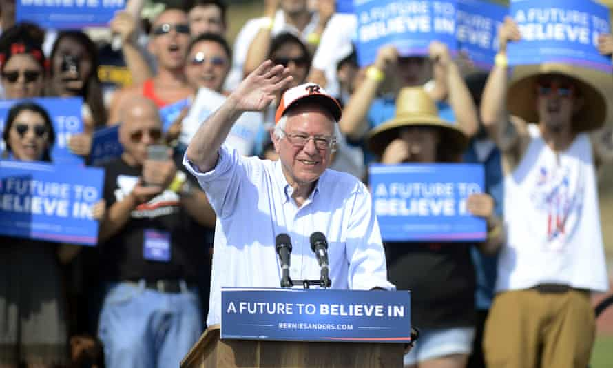 Bernie Sanders speaks at Golden West High School in California.