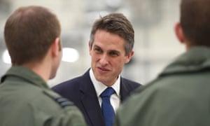 The defence secretary, Gavin Williamson, visiting RAF Marham in Norfolk
