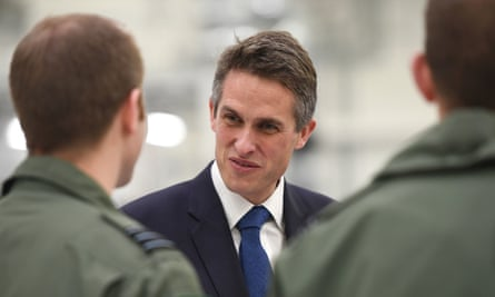 The defence secretary, Gavin Williamson, visiting RAF Marham in Norfolk