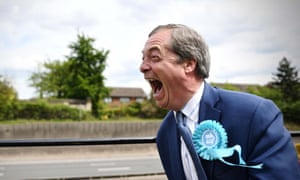 Nigel Farage atop a Brexit party campaign bus in Kent before the 2019 EU elections