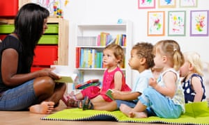 A childminder reading to a group of children