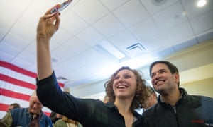 Marco Rubio<br>Republican presidential candidate, Sen. Marco Rubio, R-Fla. takes a photograph with a supporter after speaking at Rastrelli's Tuscany Special Events Center in Clinton, Iowa, Tuesday, Dec. 29, 2015. (AP Photo/Andrew Harnik)