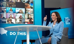 US vice-president Kamala Harris taking part in a virtual vaccination month event on Thursday.
