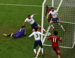 March 31: Mohamed Salah of Liverpool scores the winner during against Tottenham Hotspur at Anfield.