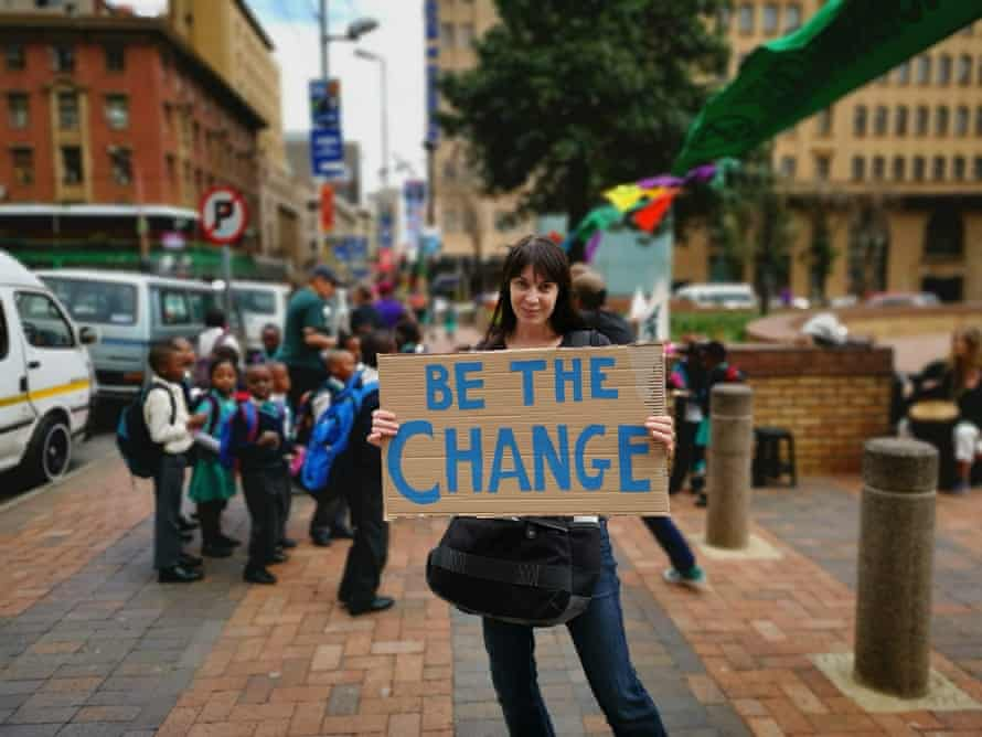 An activist makes their point in Johannesburg, South Africa on 15 April 2019