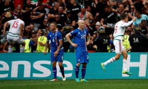Hungary's players celebrate and Iceland's show disappointment after Birkir Saevarsson's own goal equaliser in Marseille