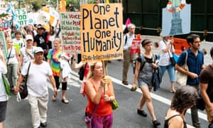 Protesters at the Climate, Jobs, and Justice March in New York, US on 6 Sep 2018