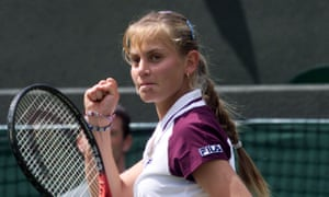 Australia's Jelena Dokic after beating the world No 1, Martina Hingis, in the first round of Wimbledon, at the age of 16