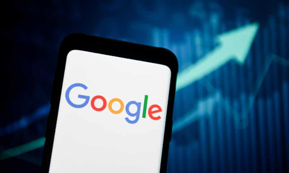 Google logo seen displayed on a phone