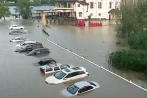 Goryachy Klyuch, Russia: This video grab shows the flood-hit spa town of Goryachy Klyuch as heavy rains caused a rise in water levels on local rivers.