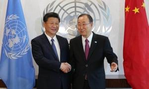 Chinese President Xi Jinping and  UN secretary-general Ban Ki-moon