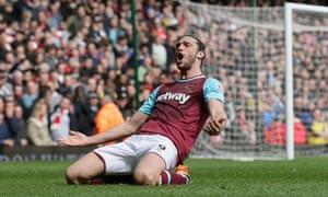 West Ham's Andy Carroll celebrates after scoring his second goal against Arsenal.