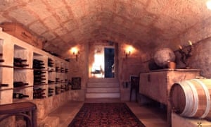 Strong and deep: the wine cellar in a house in Puglia.