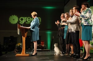 Green Party candidate Jo-Ann Roberts, gives her final speech as a Green Party candidate with her family behind her during election night at the Victoria Conference Centre