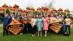 Byelection victor and new Welsh Lib Dem MP Jane Dodds celebrates with party members in Brecon, UK