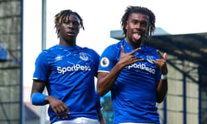 Alex Iwobi celebrates with Moise Kean after scoring for Everton against Wolves in September 2019