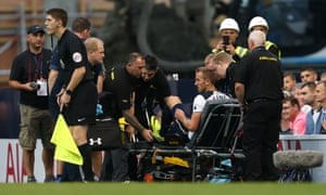 Harry Kane is stretchered off in the second half during the Premier League game between Tottenham and Sunderland last weekend.