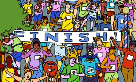 colourful illustration of runners in a marathon