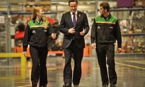 David Cameron with apprentices at the Mini plant in Oxford in 2013