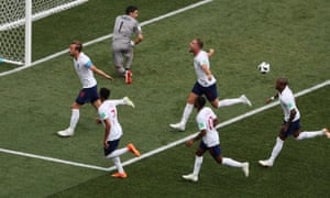England celebrate their second goal.