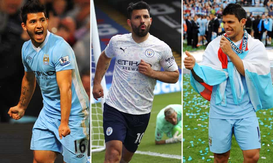 From left: Sergio Agüero's first goal for Manchester City in 2011, his most recent goal against Crystal Palace in March, and celebrating the title in 2012.