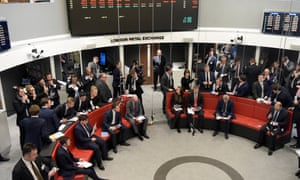 Traders on the London Metal Exchange's new open-outcry trading floor the Ring.