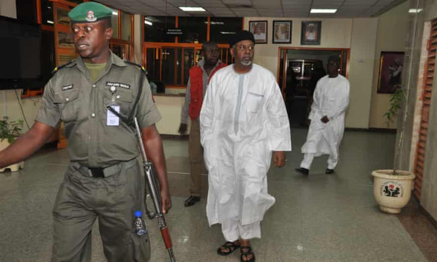 Former Nigerian national security adviser Sambo Dasuki arrives at the federal high court in Abuja on Monday.
