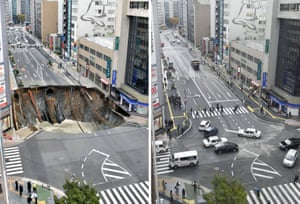This combination of two photos show a Nov. 8, 2016 file photo, left, of a sinkhole on a road, and the road after restoration, in Fukuoka, southern Japan Tuesday, Nov. 15, 2016.