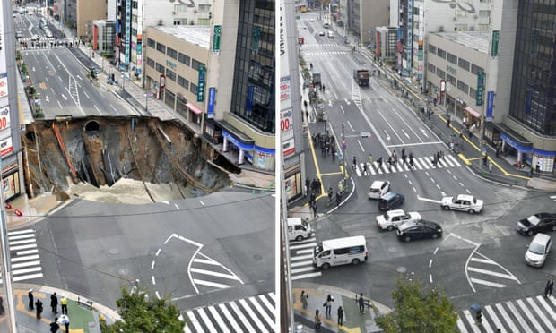 This combination of two photos show a sinkhole on a road in Fukuoka on 8 November and the repaired same road on 15 November. Photograph: AP