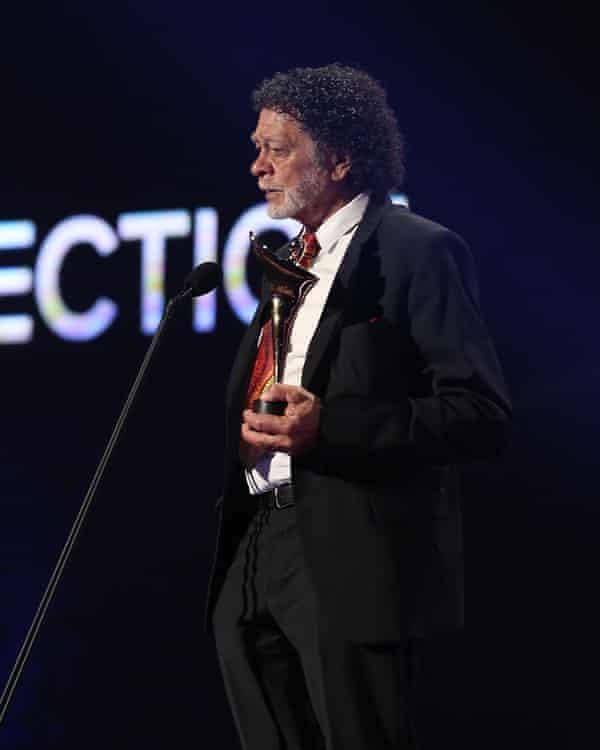 Jim Everett accepts the Aacta award for best direction on Jennifer Kent's behalf