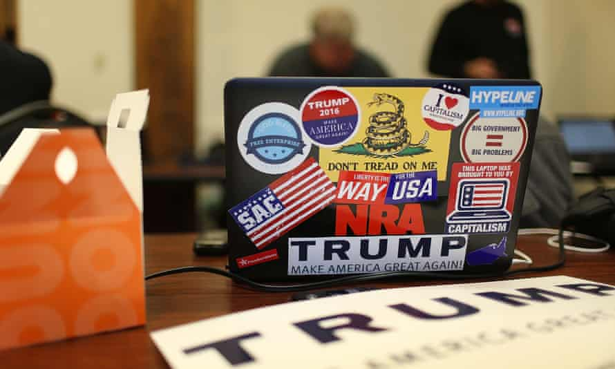 laptop with trump stickers