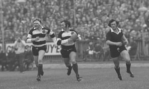 Barbarian captain John Dawes makes the break that led to Edwards' famous try at Cardiff Arms Park.