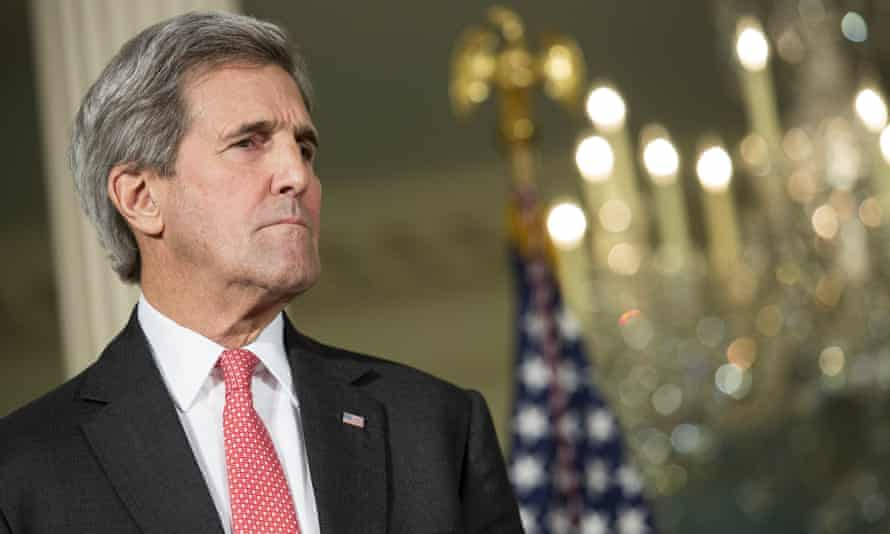 Secretary of State John Kerry looks on as U.S. President Barack Obama makes a statement after meeting with his National Security Council at the State Department, February 25, 2016 in Washington, DC. The meeting focused on the situation with ISIS and Syria, along with other regional issues.