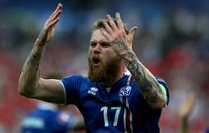 Aron Gunnarsson of Iceland celebrates as the final whistle goes.