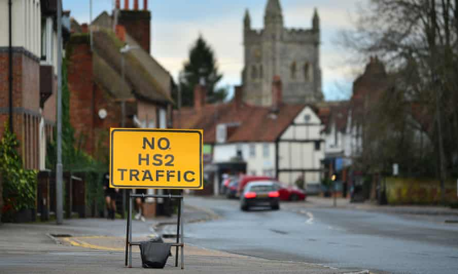 An HS2 works sign on the High Street, Amersham, 29 January 2021.