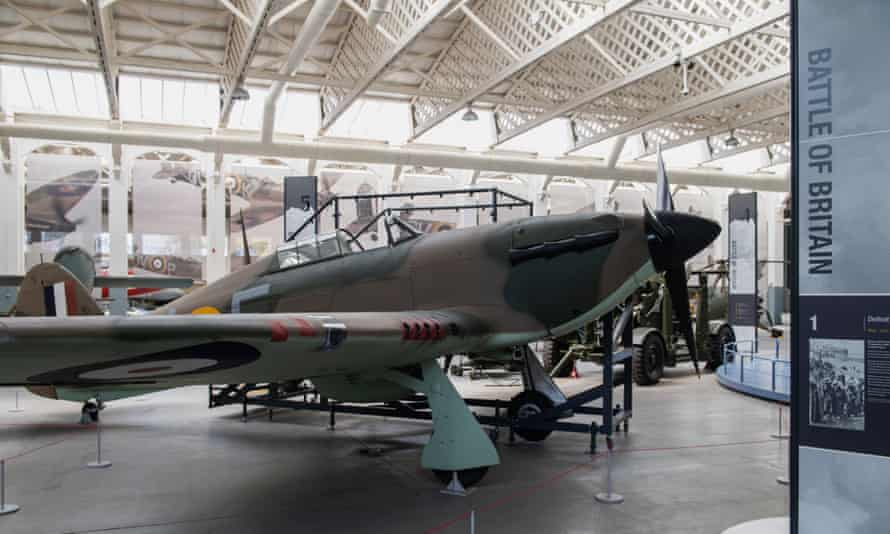 A Hurricane fighter aircraft at the Imperial War Museum in Duxford, Cambridgeshire, from the exhibition to commemorate the 80th anniversary of the Battle of Britain.