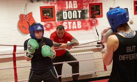Patrick Harris oversees a sparring session between two local girls at his Double Jab boxing club in New Cross, south-east London, where local teenager Myron Isaac Yarde was a regular.