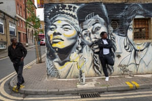The Hip Hop Raised Me mural by street artist Carleen De Sozer in Dalston, east London.